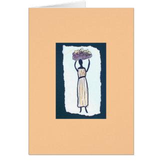 Carte de note de blanc de femme du marché