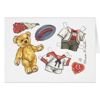 Carte de note de blanc de poupée de papier d'ours