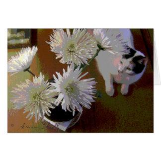 carte de note de bonheur de chat de chrysanthème