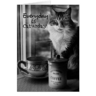 Carte de note de café de Caturday