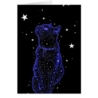 Carte de note de chat d'observation des étoiles