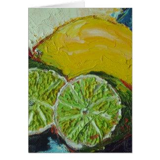 Carte de note de chaux de citron