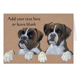 Carte de note de chien de boxeurs, cartes de Merci