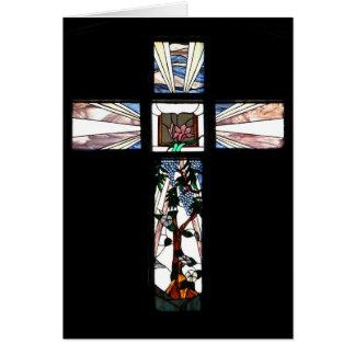 Carte de note de croix en verre souillé