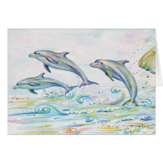 """Carte de note de dauphins d'éblouissement - 5,6"""" x"""