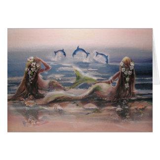 Carte de note de dauphins et de sirènes