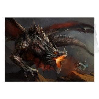 Carte de note de dragon et de chevalier