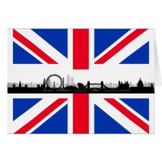 Carte de note de drapeau d'Union Jack d'horizon de