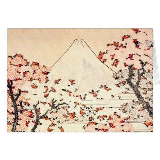 Carte de note de fleurs de cerisier de Hokusai le