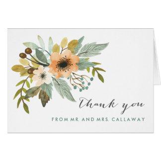 Carte de note de floraison de Merci d'aquarelle
