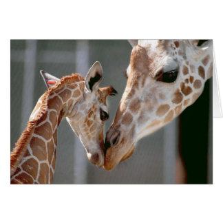Carte de note de girafe et de bébé