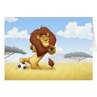 Carte de note de lion du football