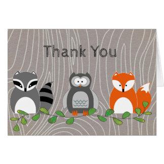 Carte de note de Merci d'animaux de région boisée
