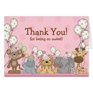 Carte de note de Merci d'animaux de safari