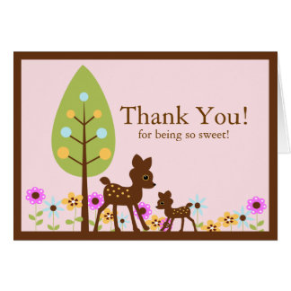 Carte de note de Merci de baby shower de cerfs