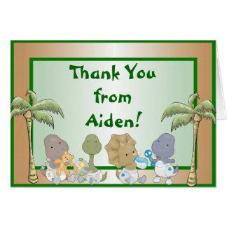 Carte de note de Merci de bébés de dinosaures