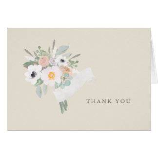 Carte de note de Merci de bouquet d'aquarelle