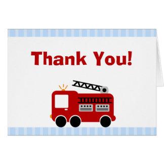 Carte de note de Merci de camion de pompiers de