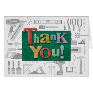 "Carte de note de ""Merci"" de construction"