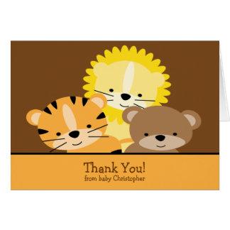 Carte de note de Merci de lion, de tigre et d'ours