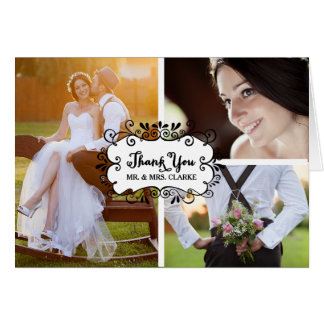 Carte de note de Merci de mariage de collage de