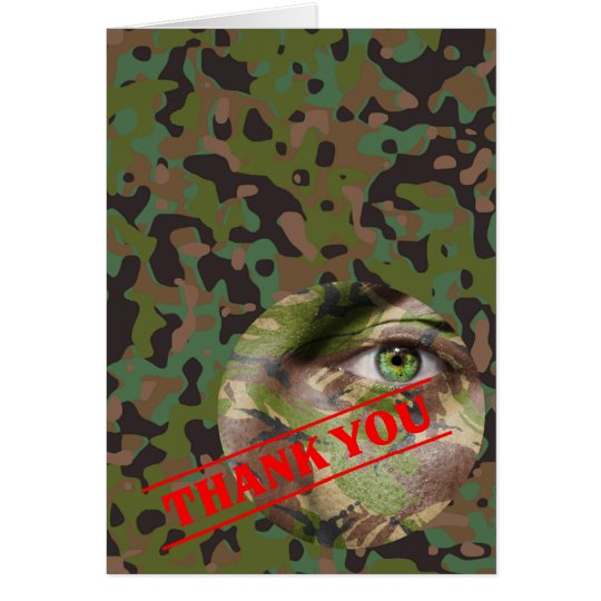 Carte de note de Merci de partie de camouflage de