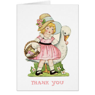 Carte de note de Merci de petite fille et d'oie