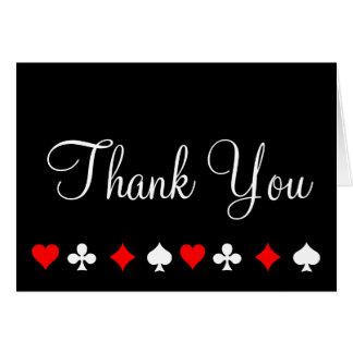 Carte de note de Merci de tisonnier de casino de