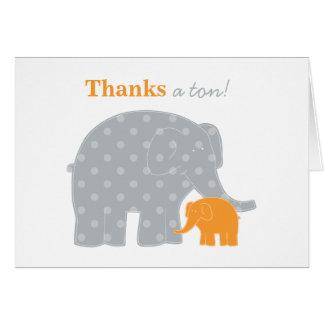 Carte de note de Merci d'éléphant | orange et gris