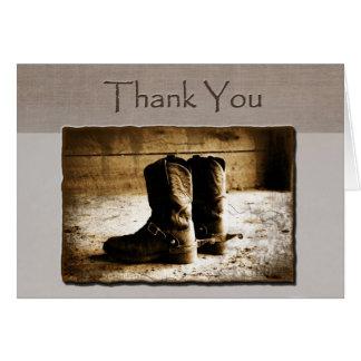 Carte de note de Merci des bottes rustiques dans