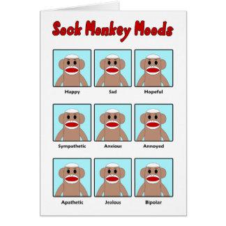 Carte de note de modes de singe de chaussette