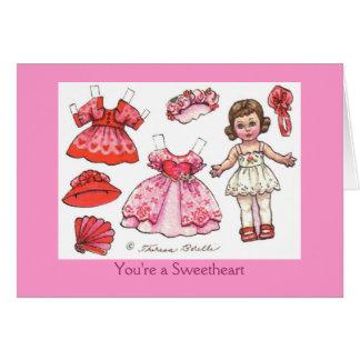 Carte de note de papier de poupée de Valentine