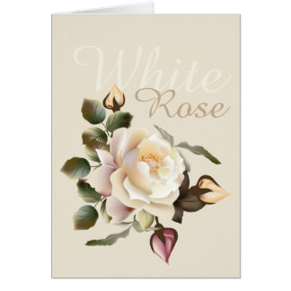 Carte de note de rose blanc