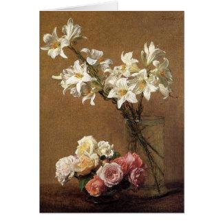 Carte de note de roses et de lis de Henri Fantin-L