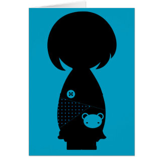 Carte de note de silhouette de Kawaii Kokeshi