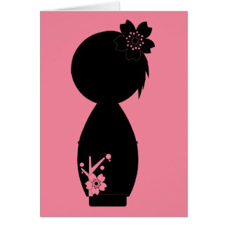 Carte de note de silhouette de Kokeshi Sakura