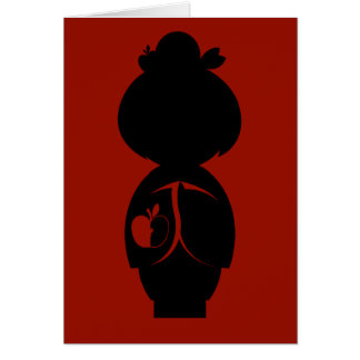 Carte de note de silhouette de Manzanita Kokeshi