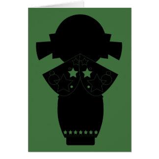 Carte de note de silhouette d'étoile de Kokeshi