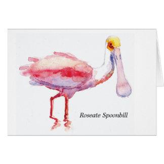 Carte de note de spatule rose