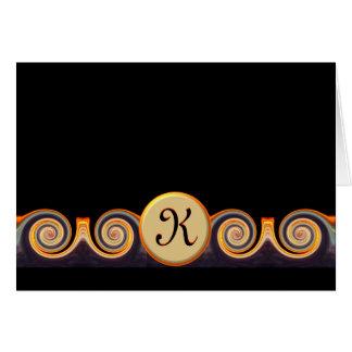 Carte de note décorée d'un monogramme vibrante de