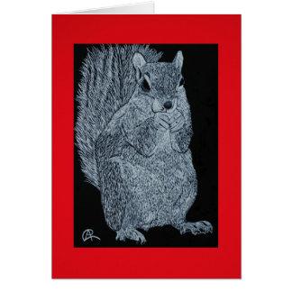 Carte de note d'écureuil de Scratchboard