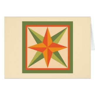 Carte de note d'édredon - étoile biseautée (vert)