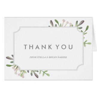 Carte de note élégante de Merci d'aquarelle