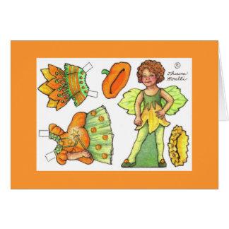 Carte de note féerique de poupée de papier blanc