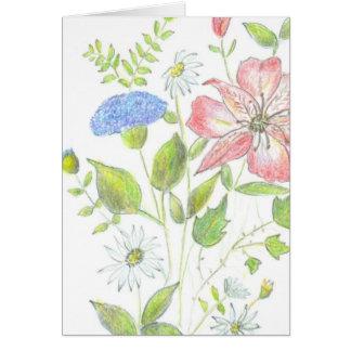 Carte de note fleurie