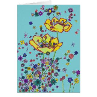 Carte de note - fleurs dispersées