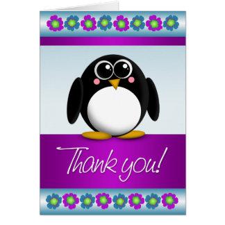 Carte de note florale colorée de Merci de pingouin