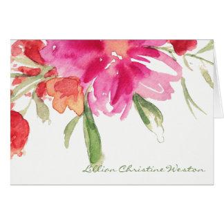 Carte de note florale de sympathie d'aquarelle