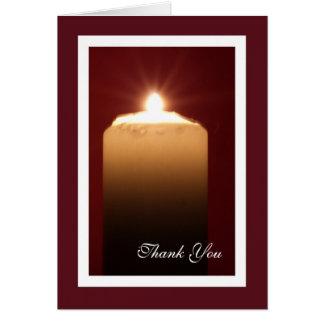 Carte de note funèbre religieuse de Merci - bougie