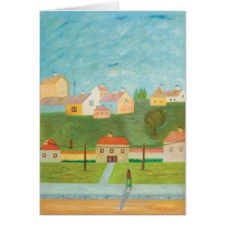 Carte de note hongroise de scène de village